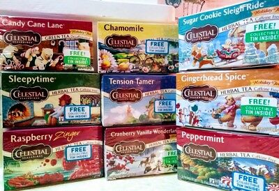 Celestial Seasonings Herbal Tea w/ Collectible Tin Sealed NEW 2018 VARIETY BOXES