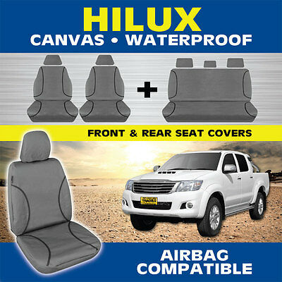 Toyota HiLux Dual Cab 2010-10/2015 TRADIES Heavy Duty Canvas Car Seat Covers