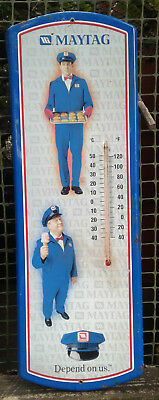 Retro 1990s-2000 Maytag Repairman Advertising Thermometer 23.3/4 inches WORKS