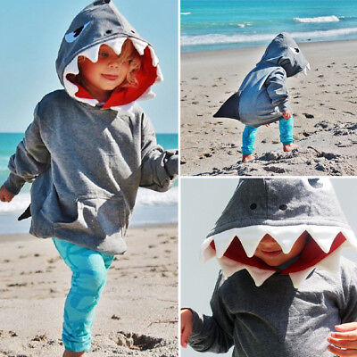 US Toddler Kids Boys Shark Hooded Tops Hoodie Jacket Coat Outerwear Casual Mon