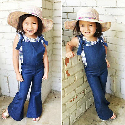 US Kids Girls Denim Bib Brace Pants Overalls Romper Jumpsuit Playsuit Outfit Mon