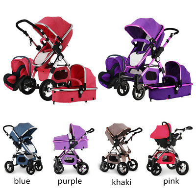 3 in 1 Baby Stroller High view Pram foldable travel pushchair bassinet& Car Seat