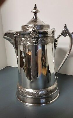 Antique Silverplate WATER  Pitcher. PORCELAIN LINER 1880. REED & BARTON