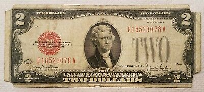 1928-G $2.00 United States Note Red Seal U.S. Two Dollar Bill - torn corners