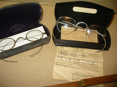 Vintage B&L EYEGLASSES Case WWII WW2 Issued Named Glasses Wire Officer More