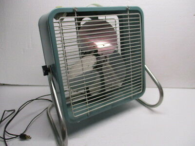 "1960s Eskimo Box Fan Turquoise 14"" (3) Speeds with Adjustable Base Model 121060A"