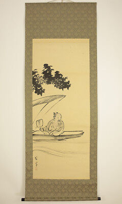 "Japanese Hanging Scroll ""Old Man on Boat""  @r866"