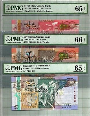 Seychelles 50, 100 & 500 Rupees Low & Match Serial Number PMG 65-66 EPQ Banknote