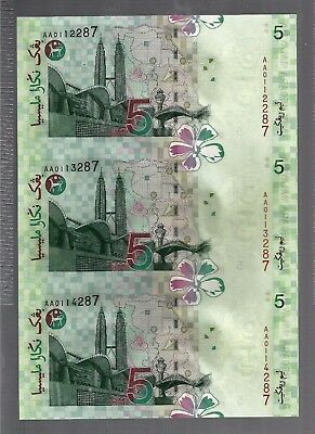 Limited Issue Malaysia RM5 UNCUT of 3 UNC Paper Banknote c/w Folder