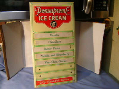 "Vintage 1940's Pensupreme Ice Cream Shop Soda Fountain Menu 20"" Metal Sign"