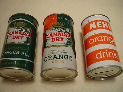 3 old CANADA DRY & NEHI 12oz FLAT TOP CANS - ORANGE SODA GINGER ALE