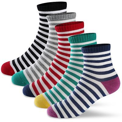 Boys Girls Crew Socks Kids Toddlers Seamless Colorful Striped Soft Cotton Fas...