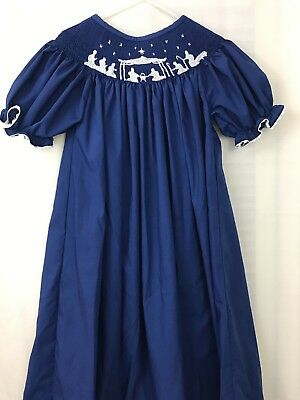 Smocked Blessings Nativity Scene Size 6T Girls Christmas Dress Holiday