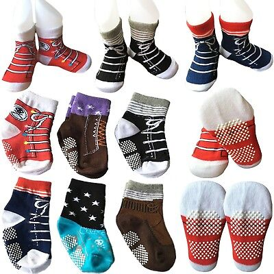 6 Pairs Toddler Baby Walkers Boy Non Skid Socks Anti Slip Stretch Knit Ankle ...