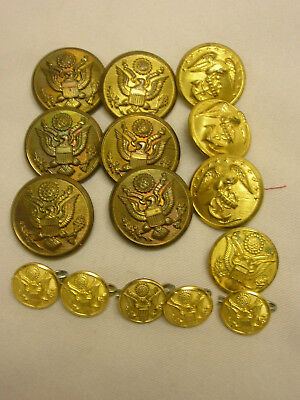 15 United States Army Eagle Waterbury Button Co. Buttons Brass