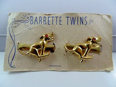 1940's Racing Running Dog Hair Barrettes ~ Vintage Set Of 2 On Card ~ Rockabilly