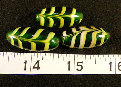 3 Old Venetian Feather Beads Green Yellow Traded To The Indians 150+ Years Old
