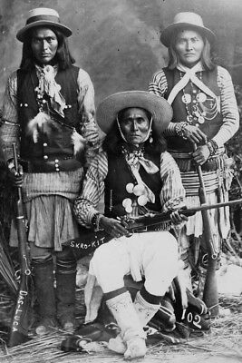 New 4x6 Native American Photo: Three White Mountain Apache Indians with Rifles