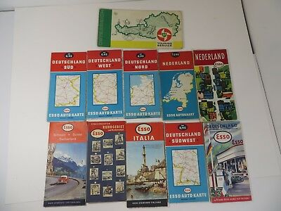 European Gas Station Map Collection - 1960's Esso & BP - 11 Maps