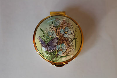 Staffordshire enamels VINTAGE small round box Adonis Blue butterfly England ExC