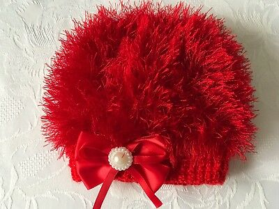 Hand Knitted Baby Girls Red Eyelash  Wool  Beanie Hat  3 - 6  Months NEW''