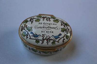 "Halcyon Bilston Crummles Oval enamel box ""All things sweetened Risk"" IOB England"