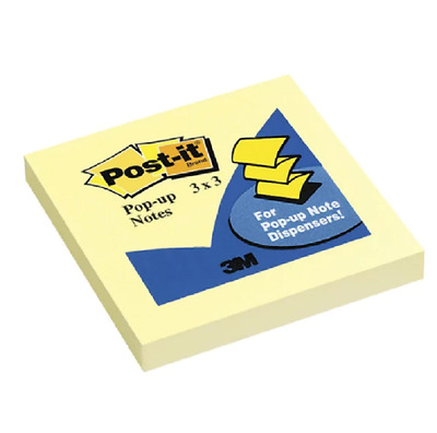 Post-it Pop-Up Original Notes, 3 x 3 in, Canary Yellow, Pad of 100 Sheets