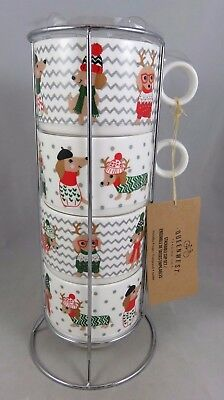 (4) Queenwest Trading Cynthia Rowley Christmas Dachshund Dog Stackable Cups Mugs