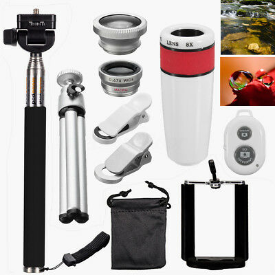 Universal Mobile 12in1 Lens Phone Camera Cell Clip Optical Telescope Kit 8X Zoom