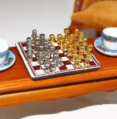 1:12 Dollhouse Miniature Furniture Metal High-end Chess Toy Set With Chessboard