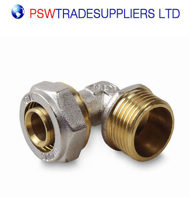 "Underfloor Heating  PEX-AL-PEX BRASS COMPRESSION FITTINGS Elbow 16x3/4"" M"