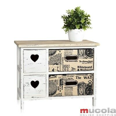 nachtkonsole kommode beistelltisch nachttisch nachtschrank holz in wei vintage eur 41 90. Black Bedroom Furniture Sets. Home Design Ideas