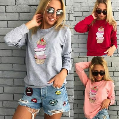 Womens Long Sleeve Printed Sweatshirt Ladies Jumper Pullover Tops Shirt Blouse