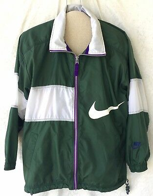 Vintage 90s Nike Swoosh Windbreaker Light Jacket Size Youth L (14-16) Green