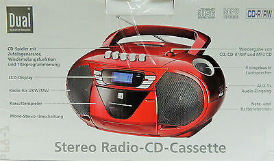 CD Player Kassette Portable Stereo Radio Dual P68-1 MP3 UKW Tragbar Boombox Rot