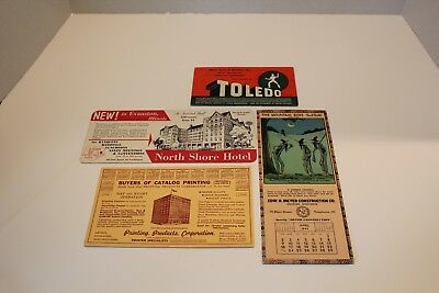 Vintage Ink Blotters – Lot of 4 – Toledo, North Shore Hotel, Printing Product Co
