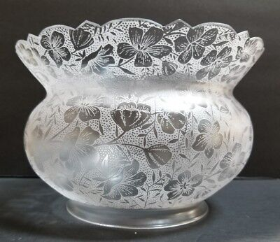 Beautiful Antique Frosted & Floral Etched Crown Top Glass Parlor Lamp Globe