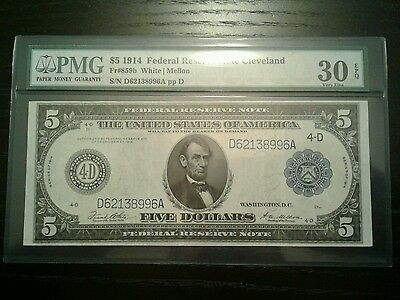 1914 $5 federal reserve note ,Cleveland  pmg, vf30