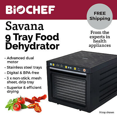 NEW BioChef Food Dehydrator - 9 S/Steel trays with timer & drying modes - Black