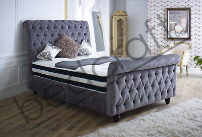SCROLL TOP MONTREAL SLEIGH BED   Tall Head & Foot Diamante   Velvet or Chenille