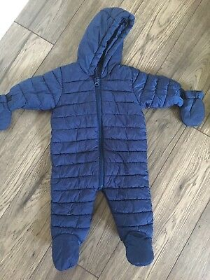 Next Lightweight Navy Quilted Baby Snowsuit Pramsuit Size Up To 3 Months
