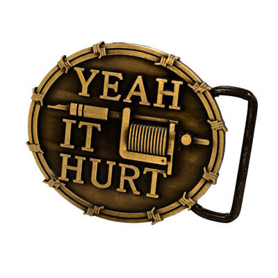 """Belt Buckle """"Yeah It Hurt"""" All Caps Lettering Tattoo Machine Barbed Wire"""