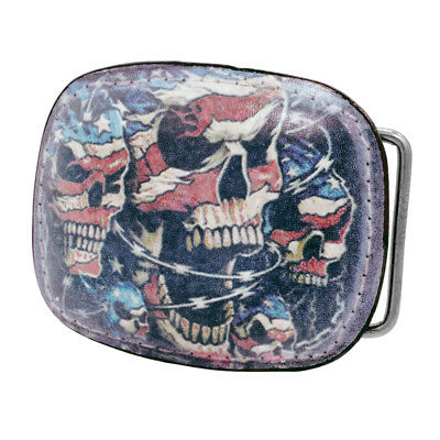Printed Leather American Flag Skull Belt Buckle Stitch Barb Wire Metal Snap On