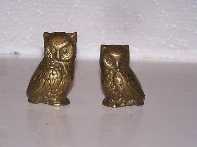 2 small solid brass owls