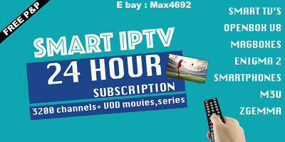 24 Hour 2nd Subscription 3200 IPTV Channels in 2 minutes, VOD MOVIES,SERIES