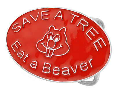 Save a Tree - Eat a Beaver Red Enamel Belt Buckle Sexy Adult