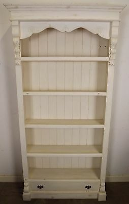 Antique Style Large Painted Painted Pine Open Bookcase With Carved Decoration