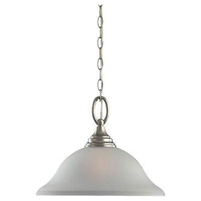 Wheaton One-Light Brushed Nickel Pendant with Satin Etched�Glass