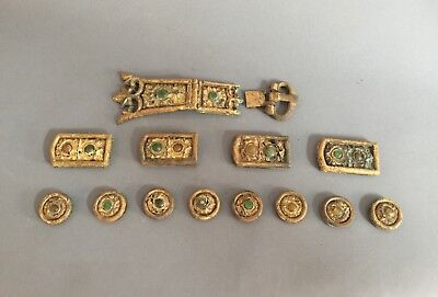 Ancient Chinese Gold Gilded Bronze Belt set. 7th C AD Tang Dynasty