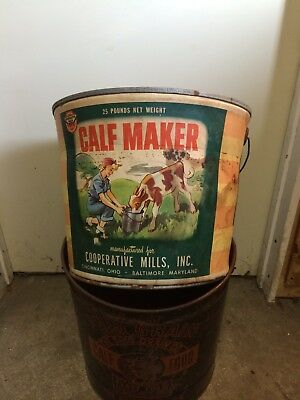 Vintage Calf maker feed  Pail Bucket rare seed cooperative mills